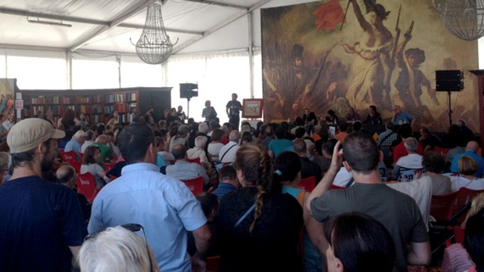 Espicha asturiana en el centro español de Nueva York.Un acto en la Carpa del Encuentro de la Semana Negra de Gijón