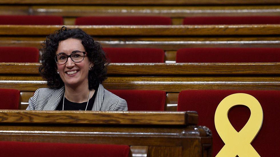 Elsa Artadi, portavoz del grupo parlamentario de Junts, y Roger Torrent, presidente del Parlament