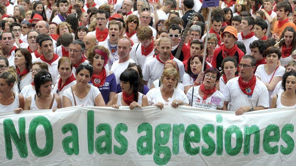 Cuarta jornada de los sanfermines.Manifestación contra las agresiones en sanfermines celebrada esta misma semana