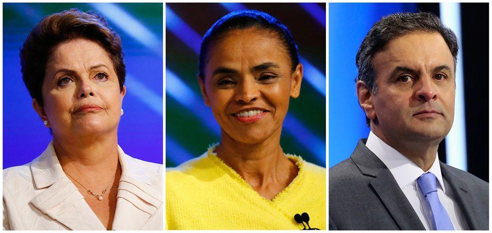 .Dilma Rousseff, Marina Silva y Aecio Neves