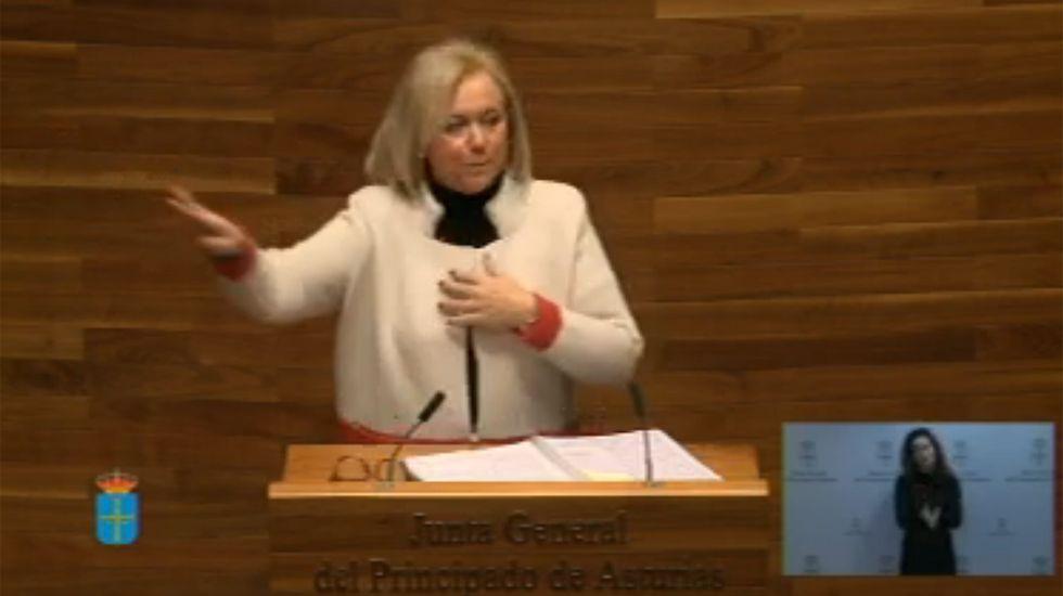 Adrián Barbón.Mercedes Fernández (PP) durante su turno de intervención en el debate del estado de la región