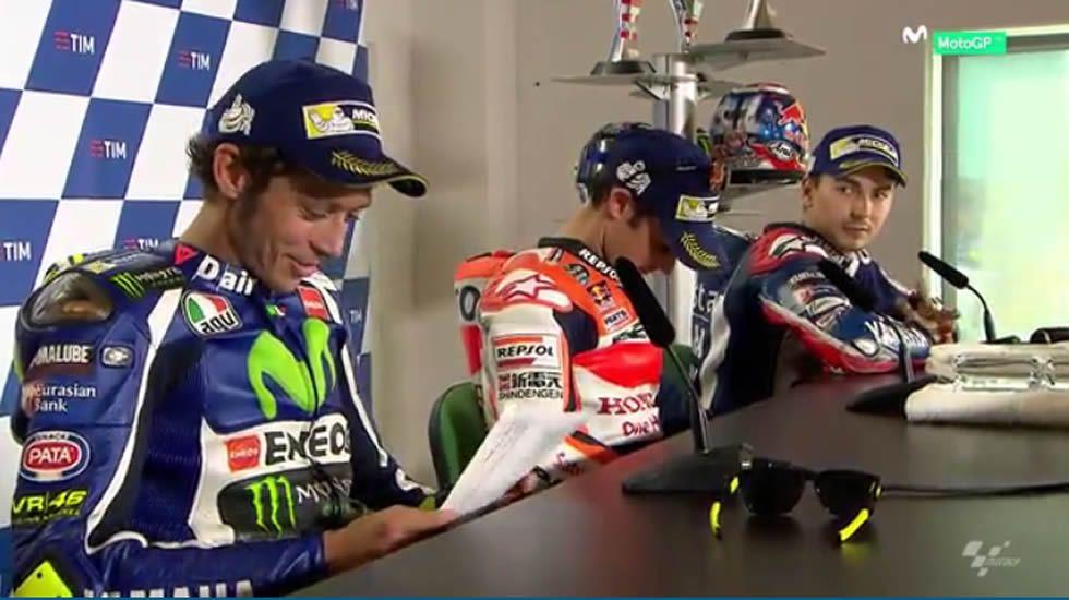 Así fue la bronca entre Lorenzo y Rossi.Marc Márquez