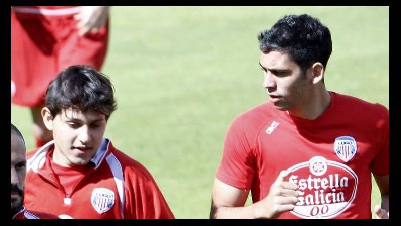 El extremo derecho Juan Luis y el central diestro Bryan, cuando entrenaron con el Lugo