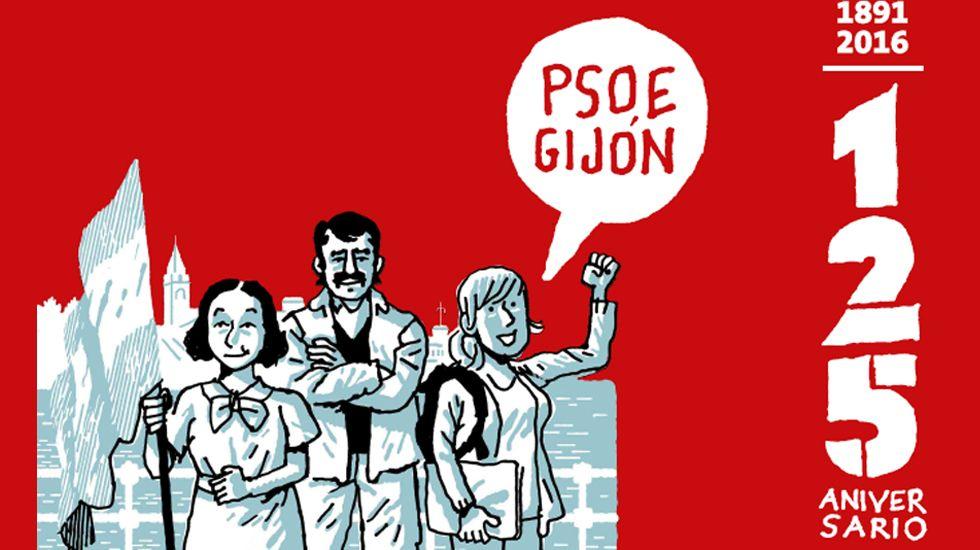 Espicha asturiana en el centro español de Nueva York.Cartel anunciador de la exposición sobre los 125 años de la Agrupación Socialista Gijonesa