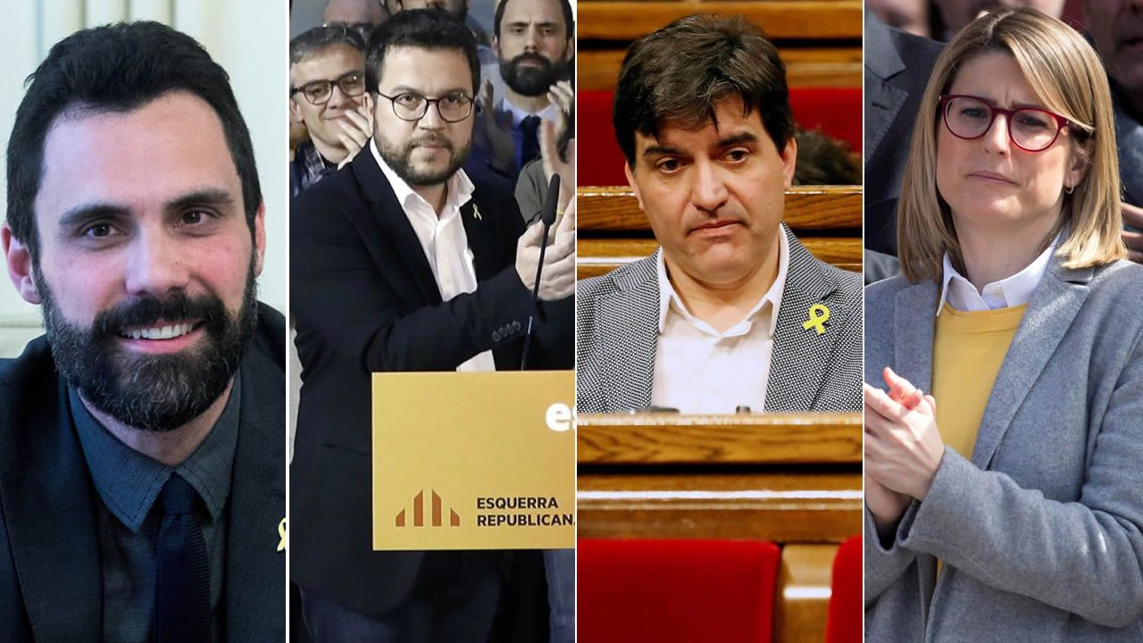 Representantes de ERC y PDeCAT entonan la ?Grândola Vila Morena? tras la intervención de Rebelo de Sousa.Roger Torrent (1979); Pere Aragonés (1982); Sergi Sabriá (1975); Elsa Artadi (1976)