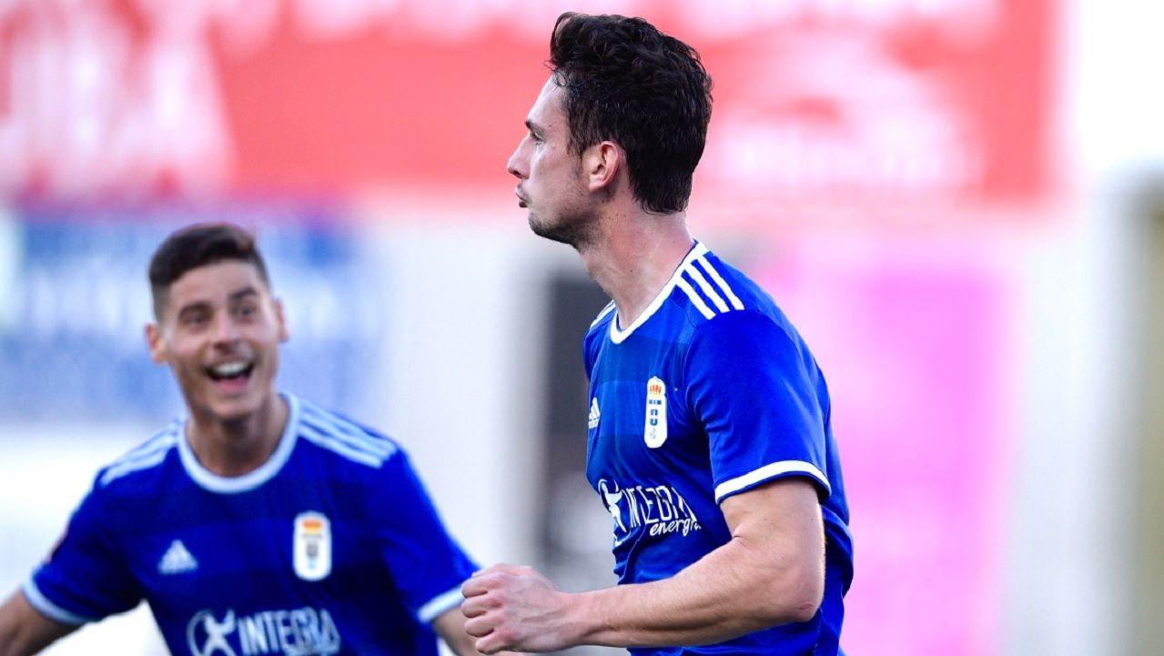 Gol Borja Sanchez Arenas Getxo Vetusta.Borja Sánchez celebra el primer gol del Vetusta ante el Arenas