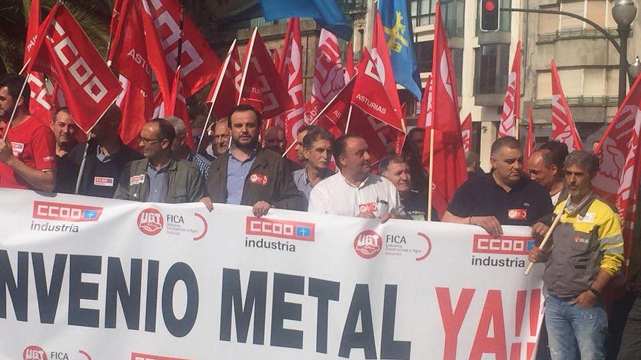 .Protesta de los trabajadores del metal en Gijón