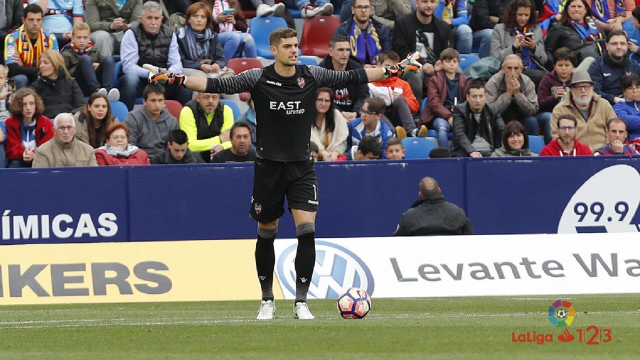 Raúl Fernández en el Levante-Oviedo de 2017