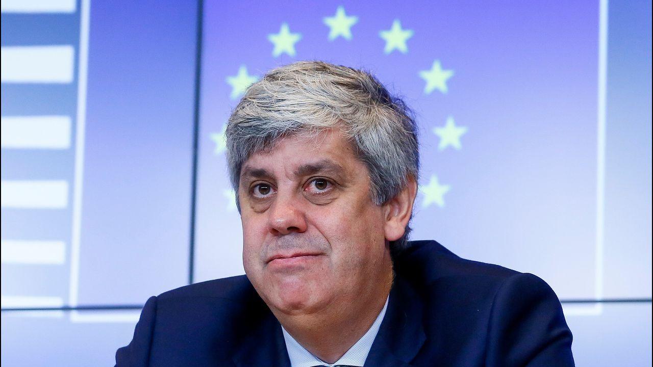 El presidente del Eurogrupo, Mario Centeno, durante una rueda de prensa hoy en Luxemburgo