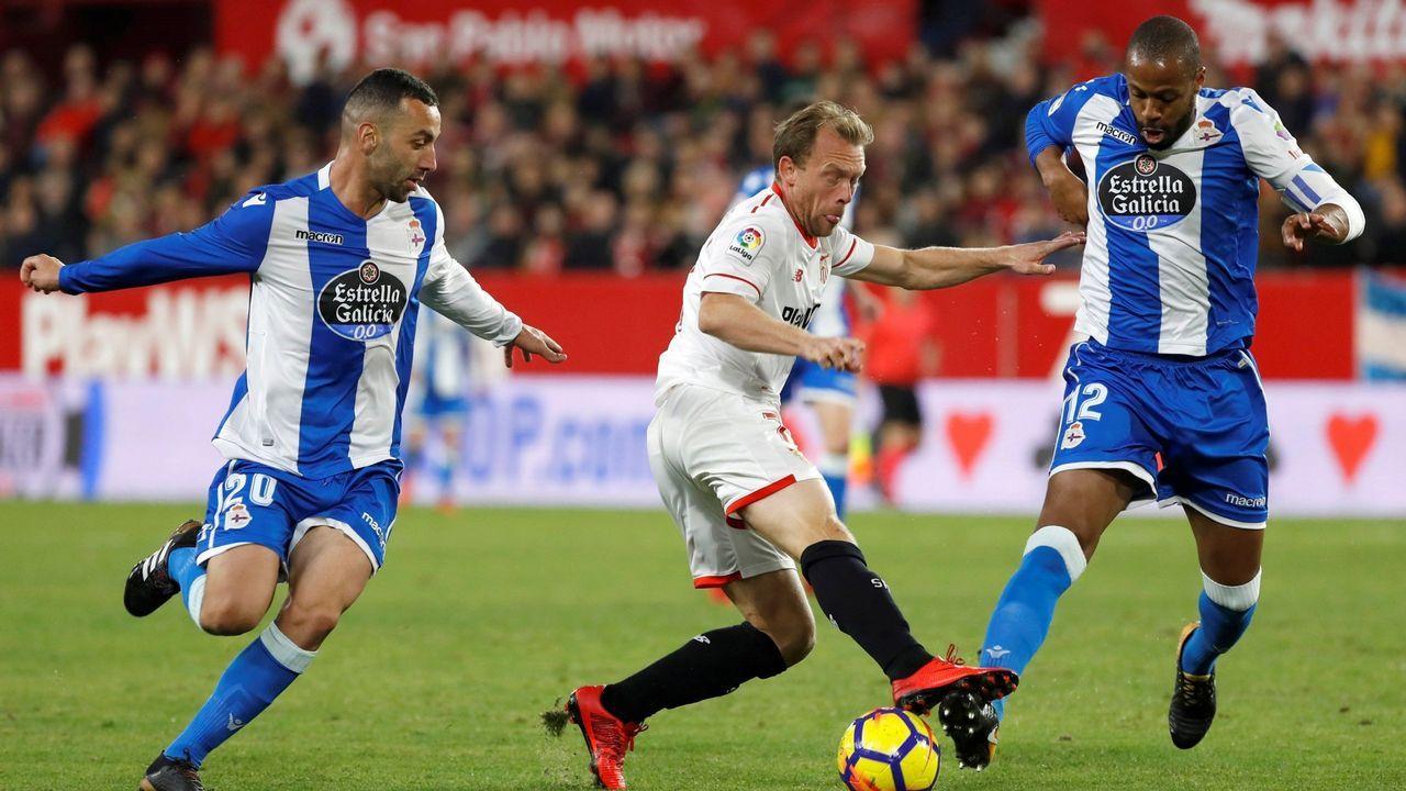 .Krohn-Dehli, en diciembre, jugando con el Deportivo contra el Sevilla