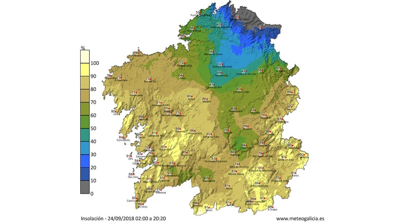 Este otro mapa muestra el porcentaje de insolación explica las temperaturas tan bajas en A Mariña