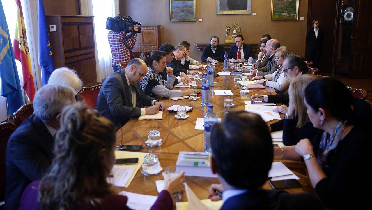 El portavoz de Podemos, Emilio León, interviene en la Junta General ante la mirada de Javier Fernández y Guillermo Martínez.Daniel Ripa