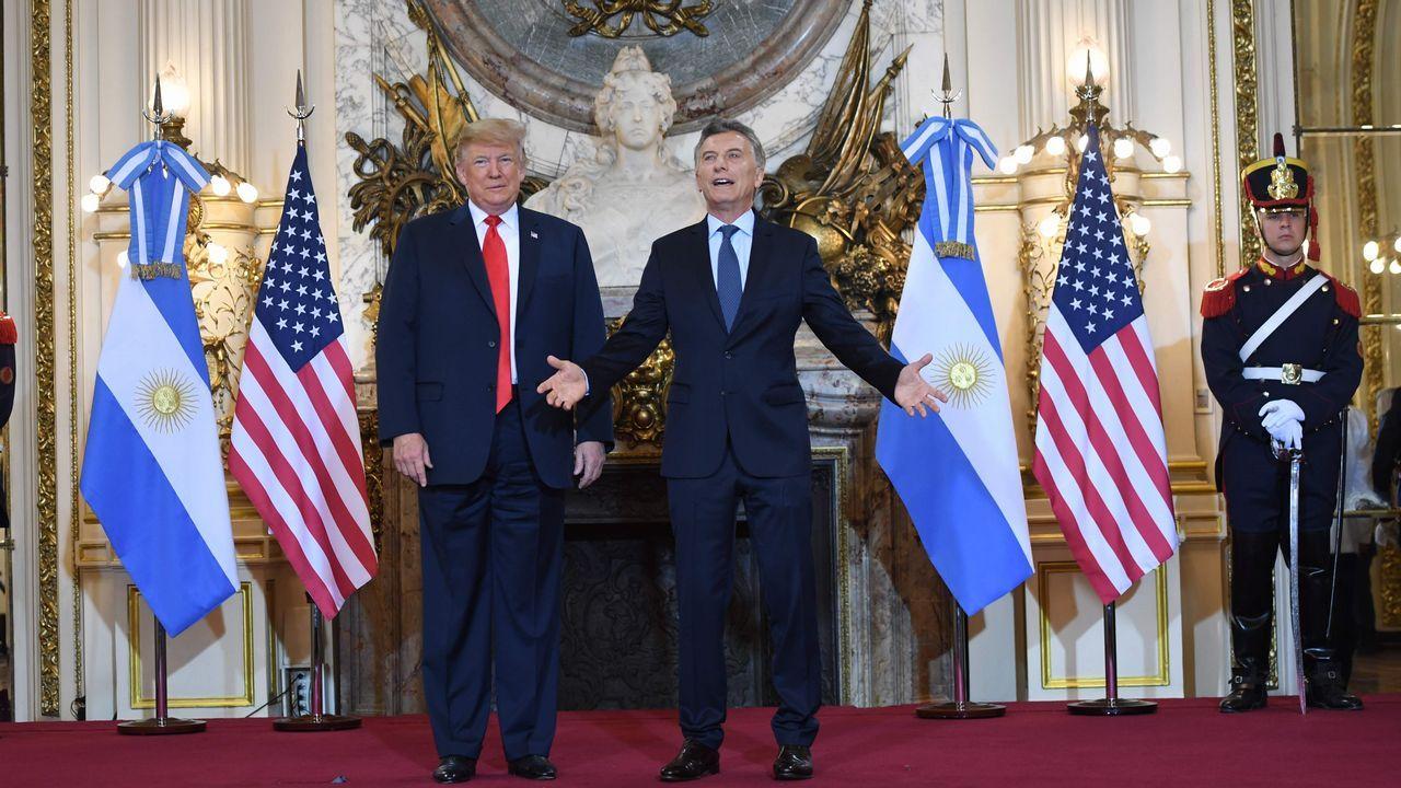 Llegada de Donald Trump a la Casa Rosada. En la imagen, con el presidente argentino Mauricio Macri