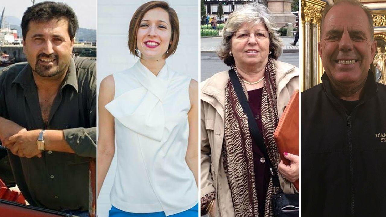 Luis Crujeiras, trabajador portuario; Michelle Mirón, traductora; Pilar Alonso, jubilada y Manuel Mayo, restaurador, son emigrantes gallegos en EE.UU.