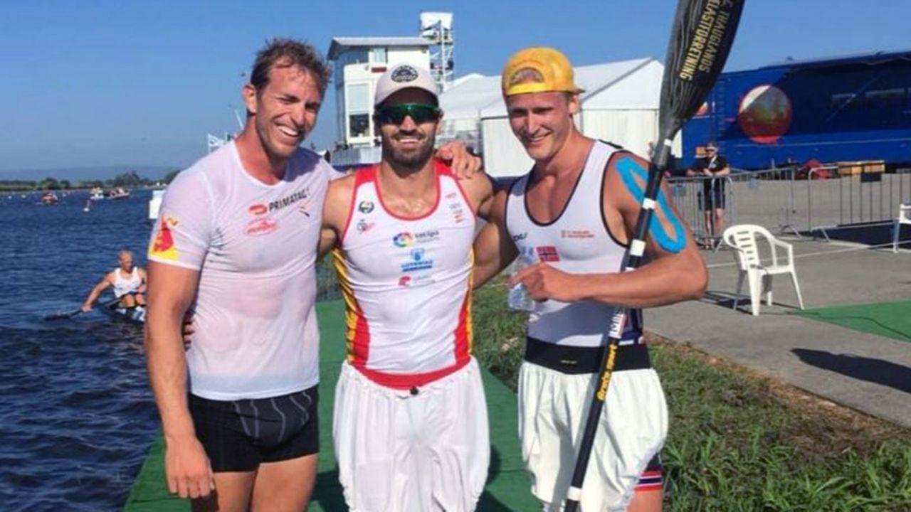 Deportistas gallegos con aspiraciones de ir a los Juegos Olímpicos de Tokio 2020.Vold junto a Hernanz