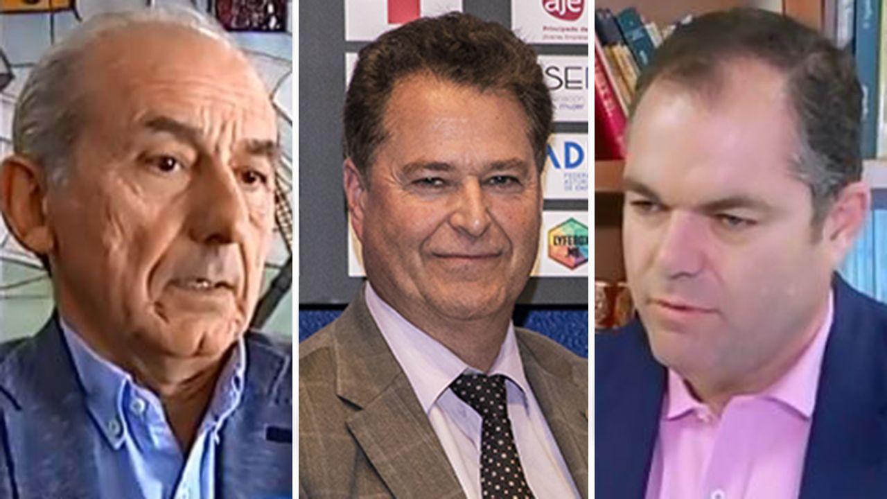 Atasco en el acceso a Oviedo.Luis Noguera, Félix Baragaño y Carlos Paniceres