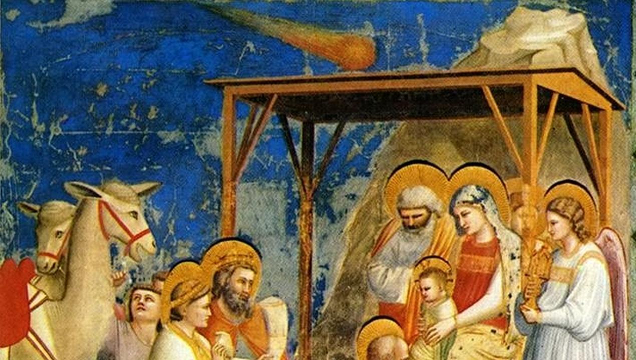 La adoración de los Magos , cuadro de Giotto en el que la estrella de Belén es representada como un cometa