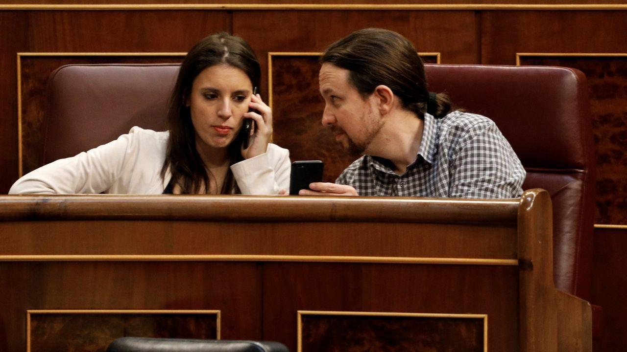 Irene Montero y Pablo Iglesias, en el Congreso