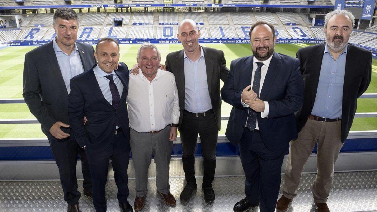 Christian Fernandez Anquela Real Oviedo Requexon.La directiva del Real Oviedo con Maximino Martínez y Luis Rubiales