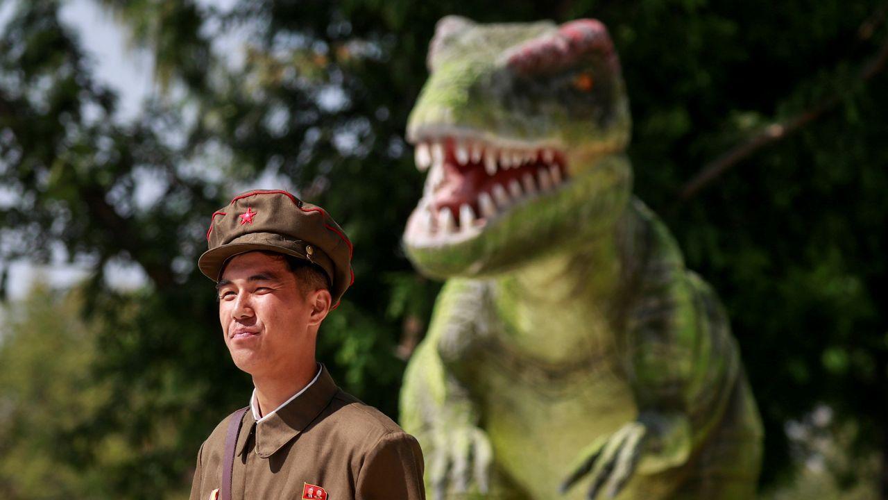 Un soldado montando guardia en el museo de Historia Natural de Pyongyang