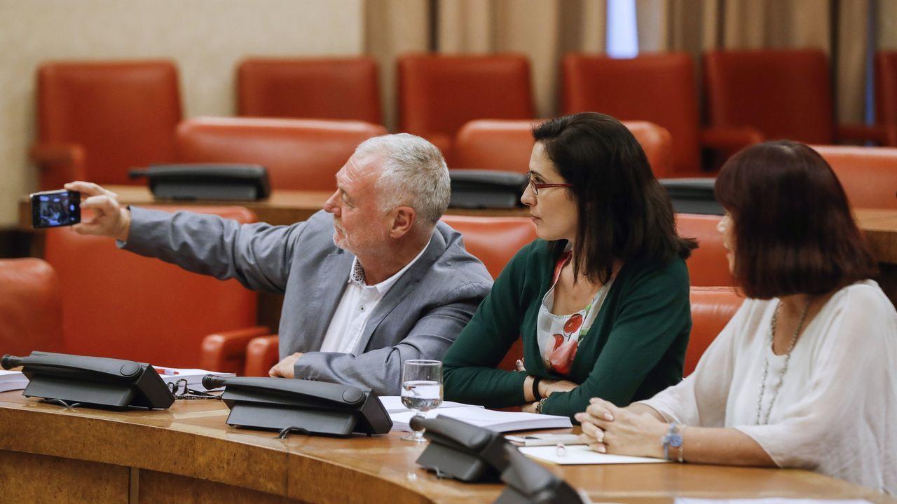 Los diputados Juan Jiménez y Aurora Flórez, y la vicepresidenta de la Mesa del Congreso, Micaela Navarro, durante la reunión de la Comisión de Igualdad