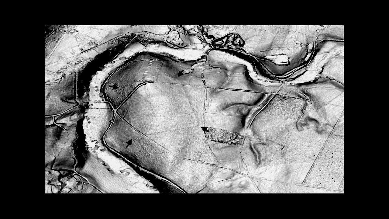 .Reconstrucción en 3D, con apoyo del LIDAR, del campamento de Pol, aprovechando un meandro del río Azúmara