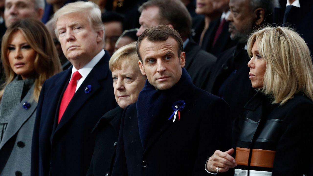 Ceremonia en Parísen recuerdo del armisticio de la Primera Guerra Mundial.Acto en recuerdo de los británicos caídos en el conflicto