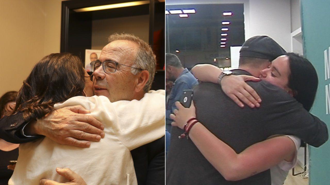 Abrazos con cara y cruz en las sedes del PSOE y Compostela Aberta