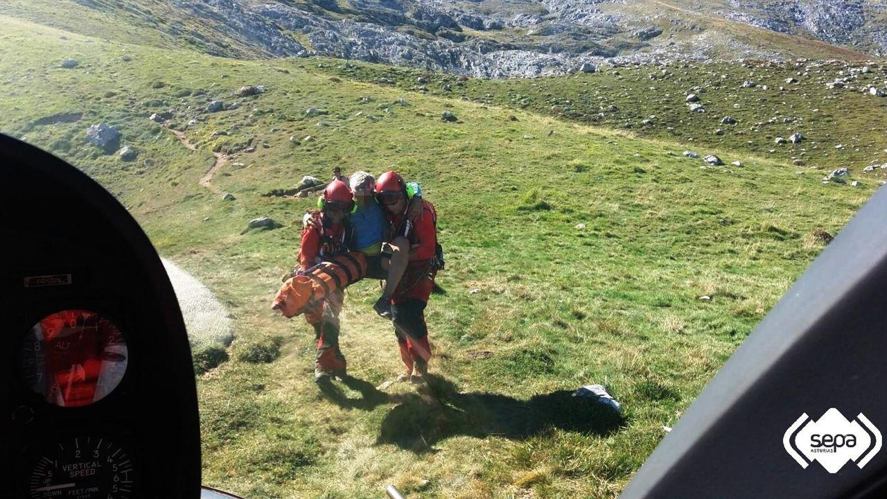 Imagen del rescate al montañero herido