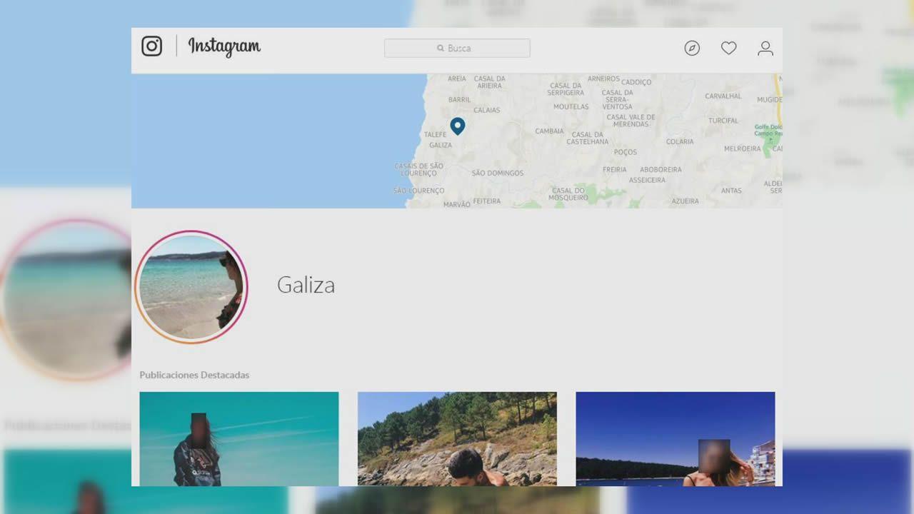 Pantallazo de la versión de escritorio de Instagram tras buscar el localizador «Galiza» con el mapa en la parte superior