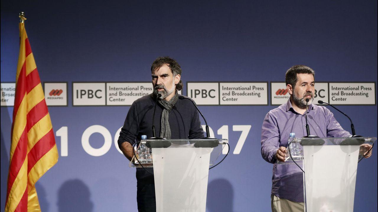 El presidente de la ANC, Jordi Sanchez, y el de Omnium Cultural, Jordi Cuixart