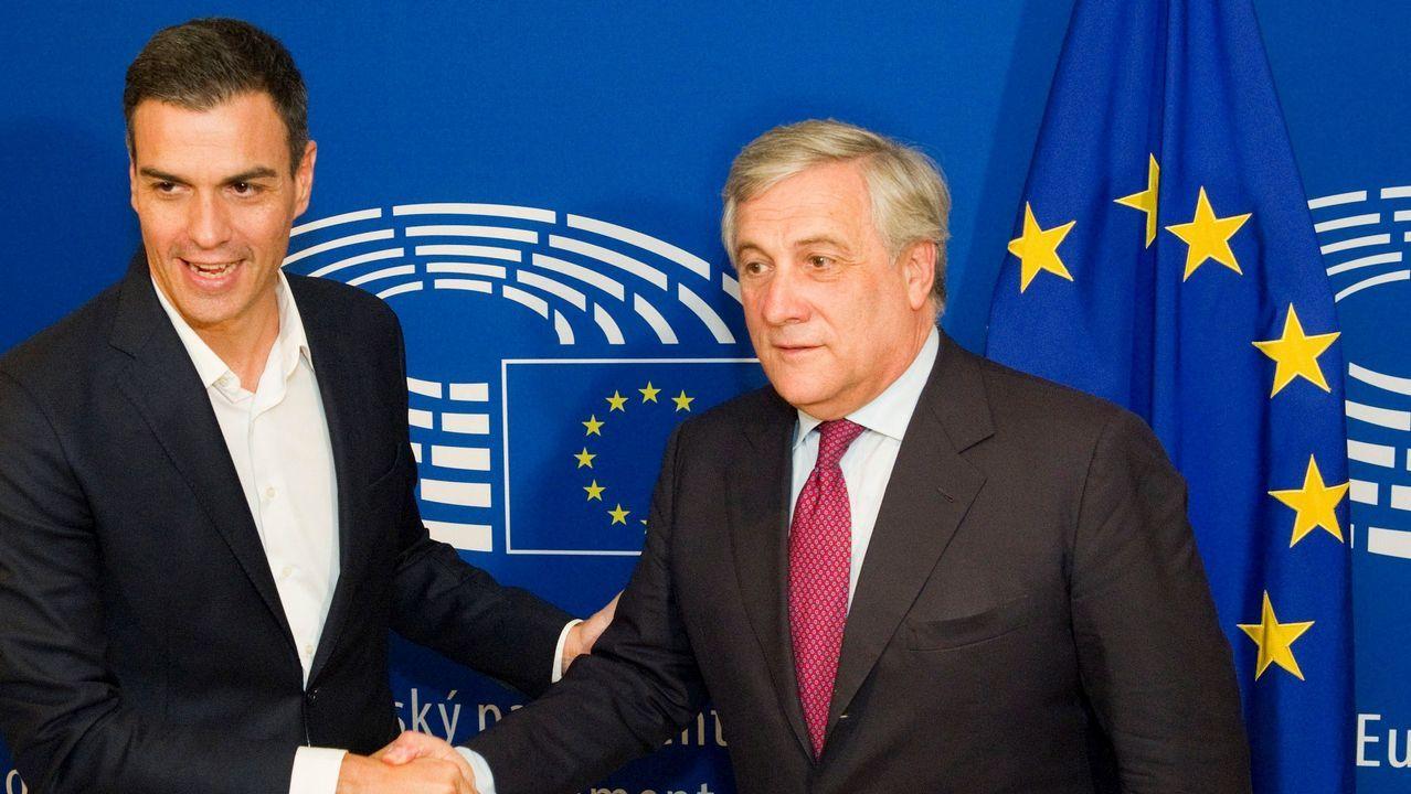 Antonio Tajani con Pedro Sánchez en Bruselas