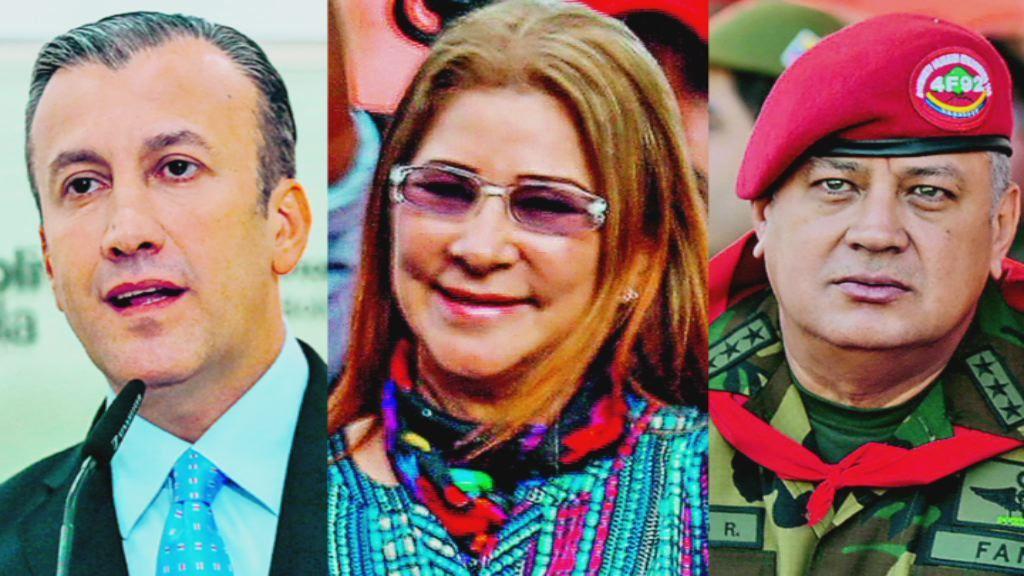 De izquierda a derecha, El Aissami (vicepresidente), Cilia Flores (primera dama) y Cabello (sirvió con Chávez)