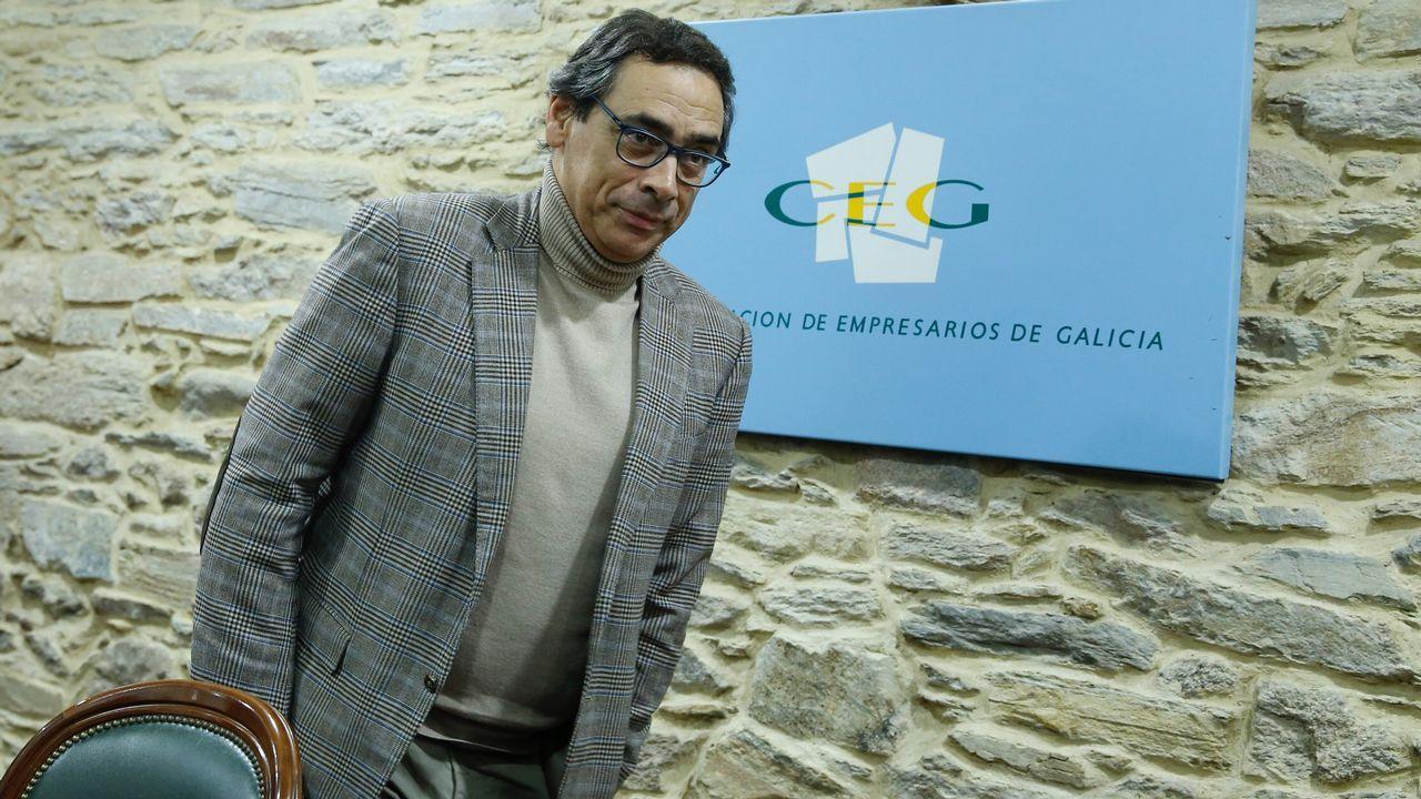 .Antón Arias, durante la rueda de prensa en la que presentó su dimisión al frente de la CEG