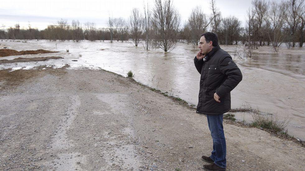 El presidente de Confederación Hidrográfica del Ebro (CHE), Xavier de Pedro, observa el caudal del río a su paso por Pradilla (Zaragoza)