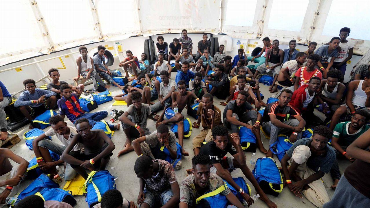.Inmigrantes rescatados por el buque Aquarius