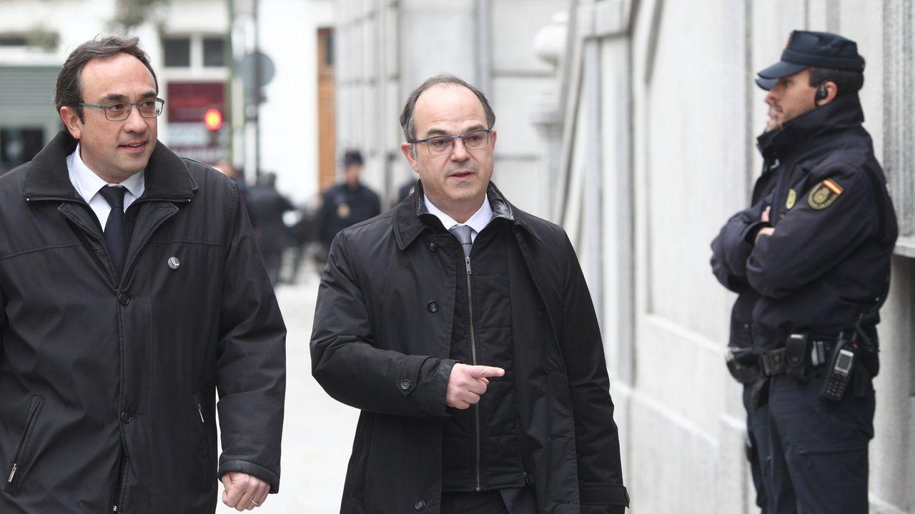 Jordi Turull, en el centro, llega al Supremo para una vista, el pasado mes de marzo