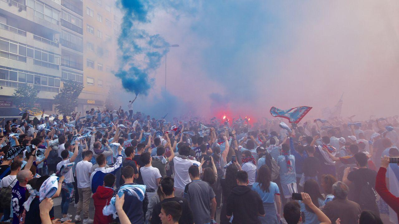 El recibimiento antes del Celta-Girona, en imágenes