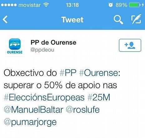 Captura de pantalla con el tuit que marcaba los objetivos del PP.