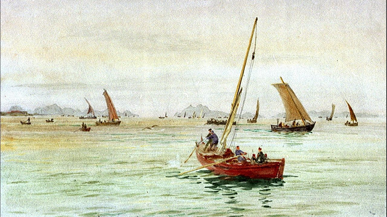 Una de las vistas de la ría de Vigo pintada por Wyllie
