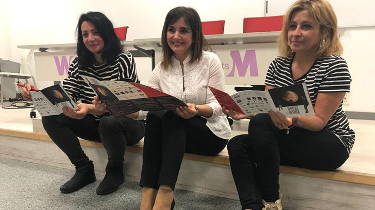 Diana Coanda, coordinadora de la programación de la Noche Blanca; Yolanda Alonso, concejala de Cultura en funciones, y Anabel Barrio, directora de la Factoría Cultural, en la presentación de la Noche Blanca 2019