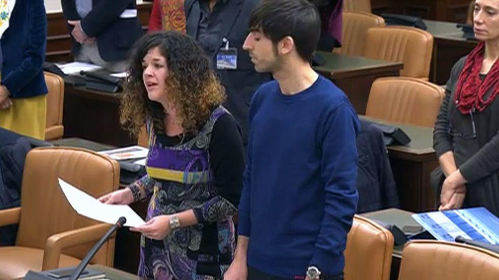 Sofía Castañón recita a Marcos Ana en la Comisión de Cultura del Congreso.Íñigo Errejón, en un mitin en Oviedo en la campaña de diciembre de 2015