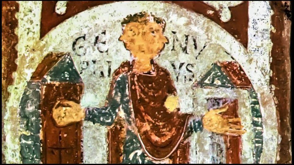 .Pintura románica que representa al dios Jano. Panteón real de San Isidoro de León