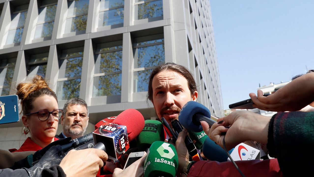 Pablo Iglesias, a la salida de la Audiencia Nacional tras personarse como perjudicado en el caso Villarejo