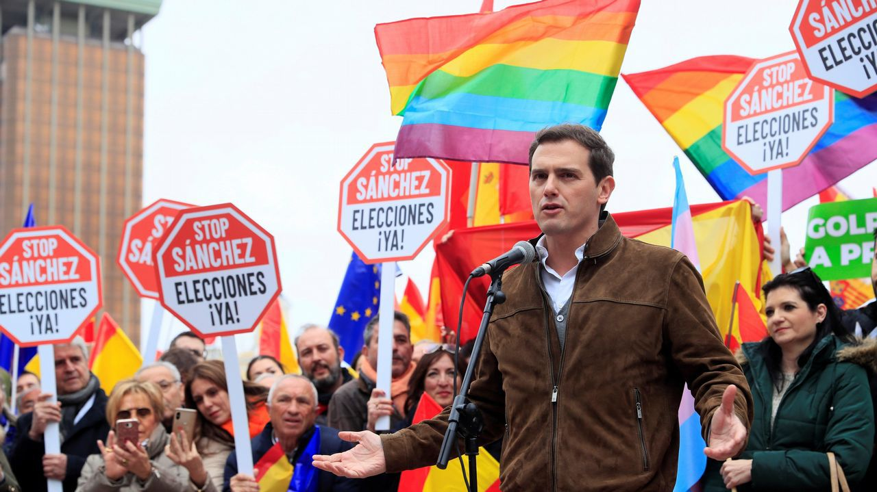 | EFE.Rivera, durane la concentración del domingo en Madrid en la que se demandaba elecciones generales