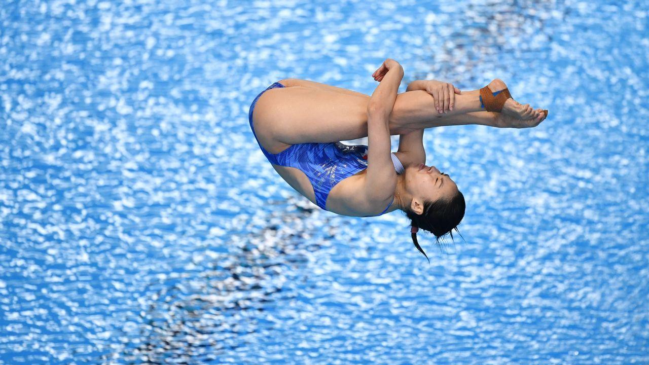 .Una de las participantes chinas en el concurso de saltos de los Juegos Asiáticos.