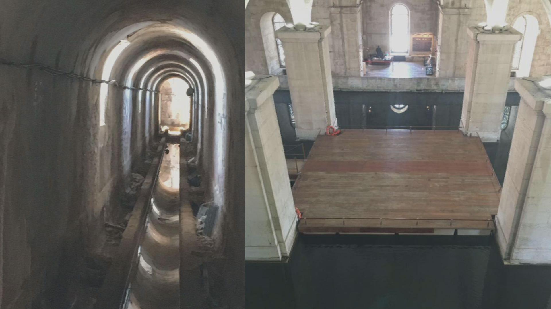Un hito de la ingeniería: Los túneles fueron construídos en los siglos XVIII y XIX y conectaban depósitos como el Mae d'Água das Amoreiras (derecha) y el acueducto de Aguas Libres