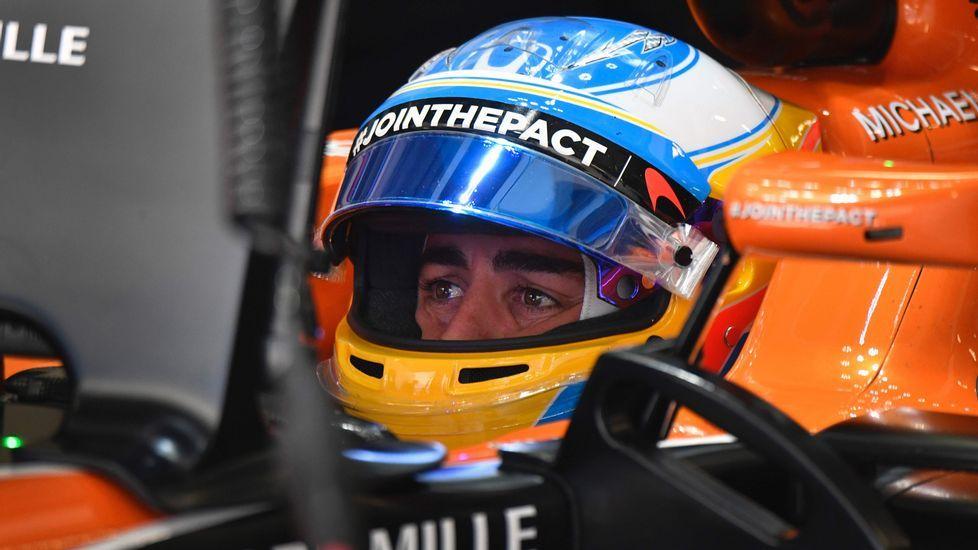 Fernando Alonso, en la clasificación en Bakú