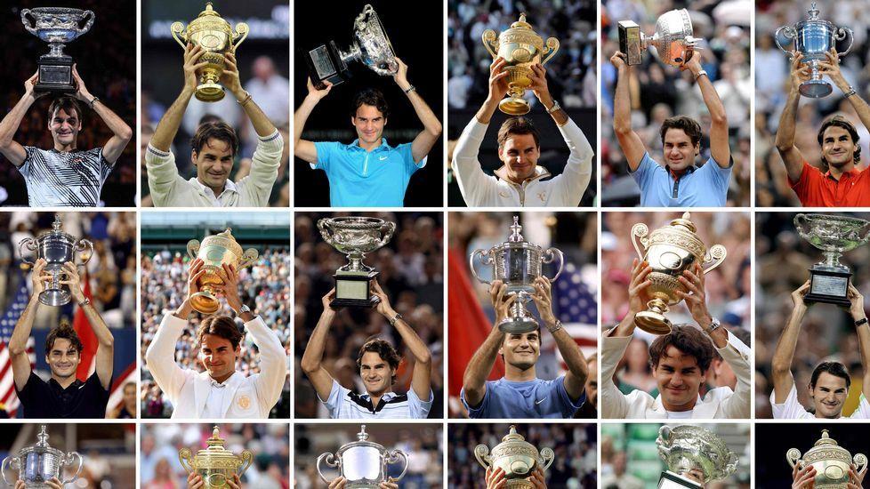 Roger Federer celebra su victoria contra Rafael Nadal en la final del Abierto de Australia, celebrada en Melbourne el domingo 29 de enero