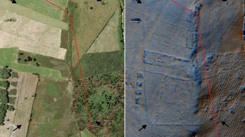 A la izquierda, la zona en el 2009; a la derecha, con datos LIDAR. La línea roja marca el límite entre A Fonsagrada (izquierda) y Oscos.
